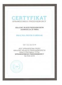 Pralnia - Certyfikat Sprawdzonego Przedsiębiorstwa