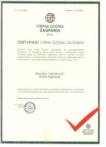 Pralnia - Firma Godna Zaufania 2016